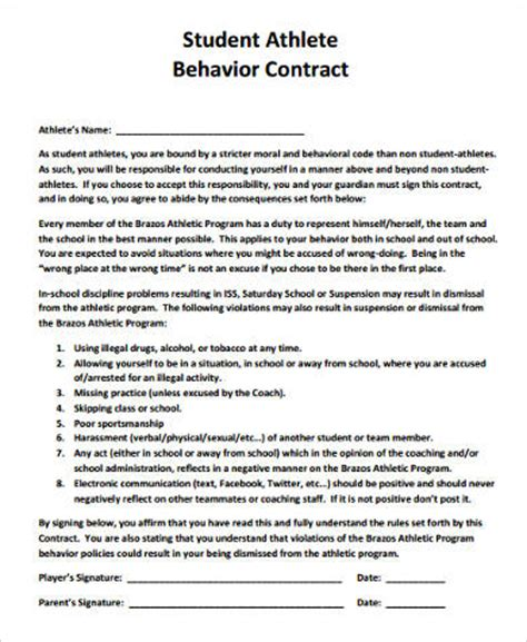 Sle Student Behavior Contract Forms 9 Free Documents In Word Pdf Athlete Contract Template