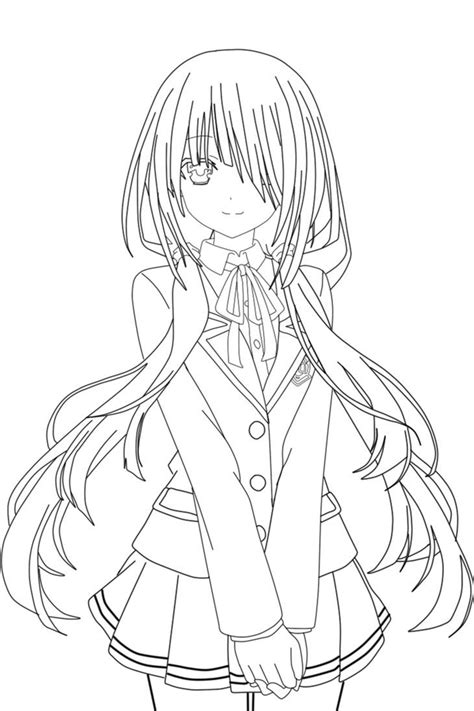 how to color lineart kurumi tokisaki lineart schwarkzky by schwarkzky