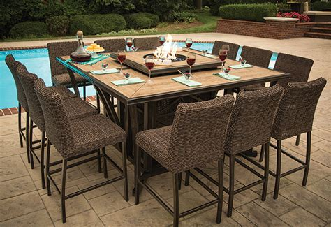 Agio Luxury High Top Fire Pit Table Set   8 Bar Chairs