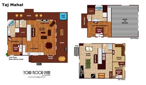floor plan of taj mahal taj mahal a pigeon forge cabin rental