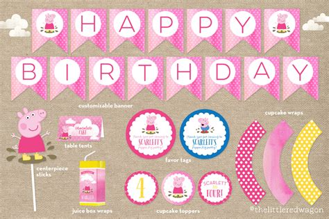 peppa pig printable birthday decorations custom peppa pig birthday party printables banner cupcake