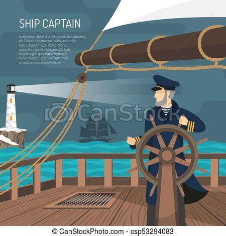 sailboat captain sailboat captain nautical flat poster sailing ship