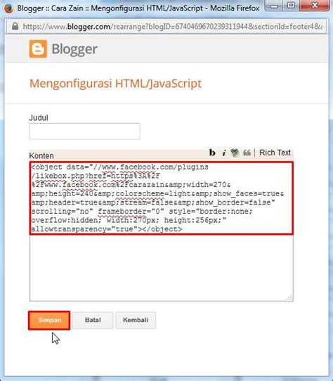 cara membuat widget facebook di blog cara membuat widget like box facebook di blog terbaru