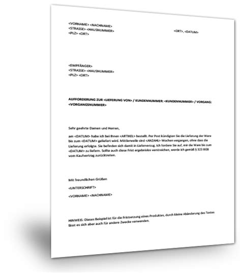 Musterbrief Jobcenter Musterbrief Lieferverzug Musterix