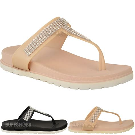 comfort size womens ladies summer jelly sandals diamante wedge