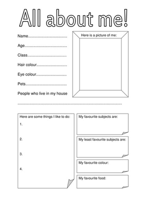 Personal Fact File Template all about me fact file for day of term by hannahw2