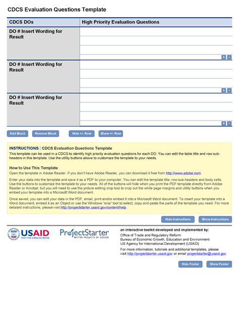 cdcs evaluation questions template project starter usaid