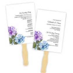 wedding program fan template purple amp blue hydranges diy