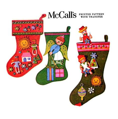 sewing pattern for mini christmas stocking vintage mccall s 2411 felt christmas stockings sewing