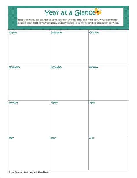 year at a glance calendar template planning our homeschool year heralds