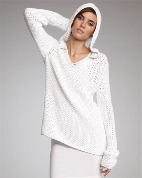 white open knit sweater t by wang open knit hooded sweater in white lyst
