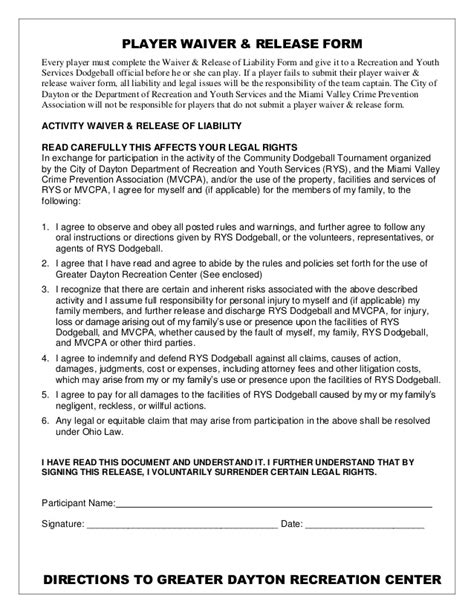 Dodgeball Tournament Packet 2014 Youth Sports Waiver Form Template