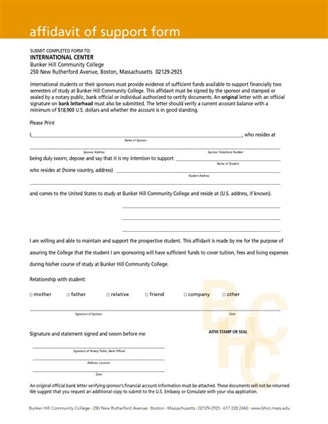 Affidavit Of Support Letter From Employer Free Affidavit Of Support Form With Orange Header And Print Statement And Information