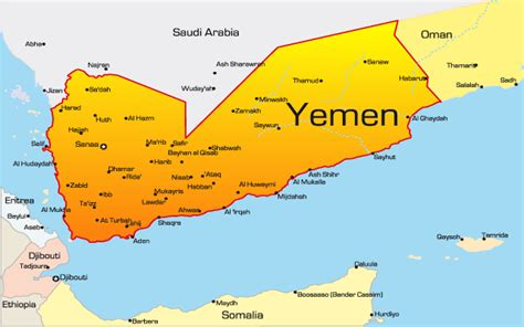 middle east map yemen yemen map showing attractions accommodation