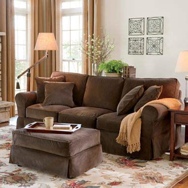 linden friday slipcovered sofa linden friday velvet slipcovered sofa jcpenney