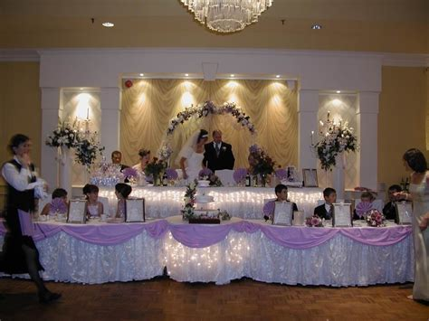 head table decorations wedding reception wedding dress