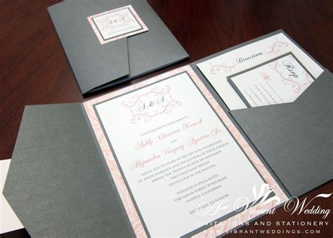 pink and gray wedding invitations gray pink wedding invitation pocketfold style with