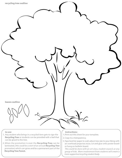 template of tree tree outline with leaves bamboodownunder