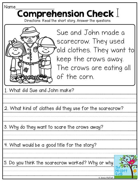 1st Grade Comprehension Worksheets by Stories With Comprehension Questions Grade
