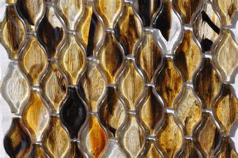 Fusion Brown Pattern Glass Mosaic | fusion glass autumn brown teardrop pattern 07g glass