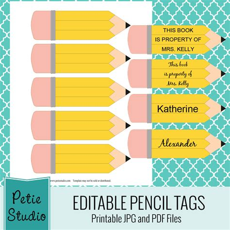 printable pencil tags  classroom   craft projects  editable  files