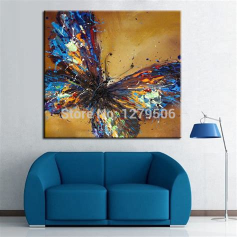 handmade abstract adorable blue butterfly painting