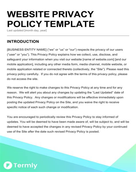 business privacy policy template free privacy policy templates website mobile fb app