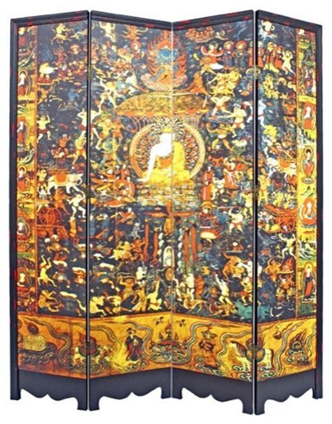buddha room divider screen tibetan buddhist pantheon room divider eclectic screens and room dividers by