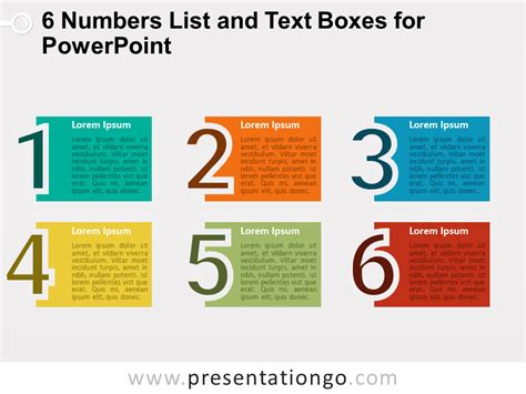 theme list in powerpoint 6 numbers list and text boxes for powerpoint