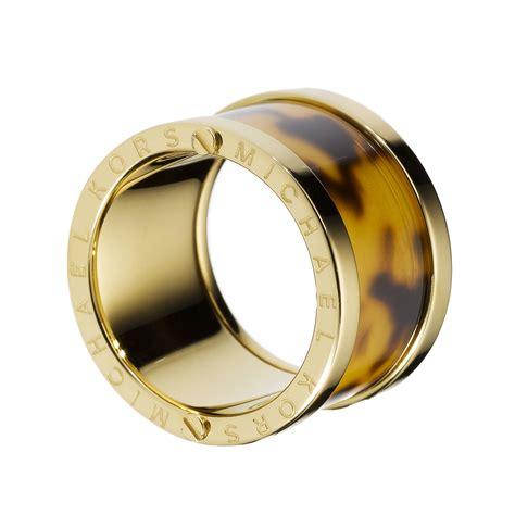 michael kors gold tone tortoise barrel ring in gold lyst