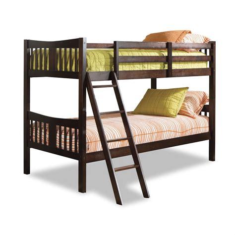 espresso bunk beds twin over twin solid wood bunk bed in espresso finish