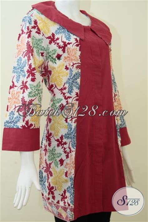 Grosir Murah Baju Domino Tunik Crepe gambar blouse batik kombinasi blouse styles