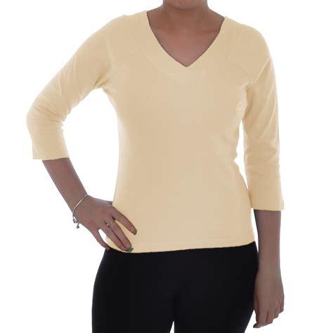 Sleeve Plain V Neck Top miss posh casuals womens plain cotton 3 4 sleeve v