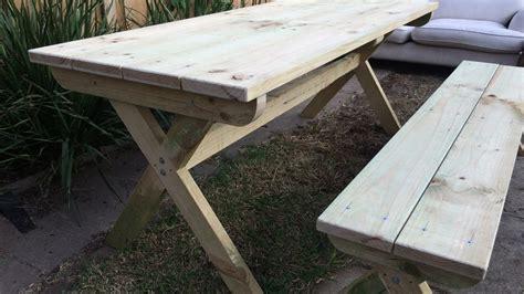 diy cross leg outdoor table  bench youtube