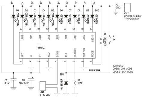 led bar graph resistors bar graph voltmeter range 0 to 10v using lm3914 10 leds circuit ideas i projects i