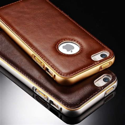 Casing Iphone 55s Luxury Leather luxury leather aluminum metal bumper frame cover for iphone 6 6s plus 5 5 ebay