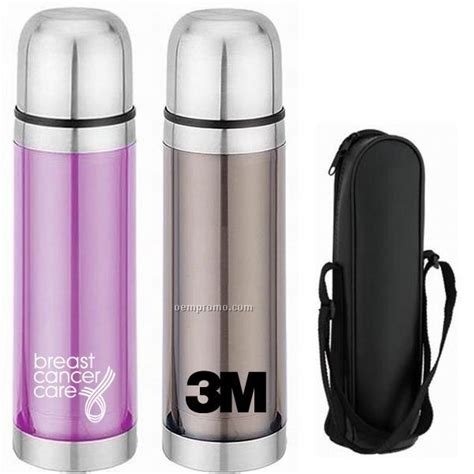 Promoo Push Button No Touch 16 oz stainless steel vacuum flask w carrying china