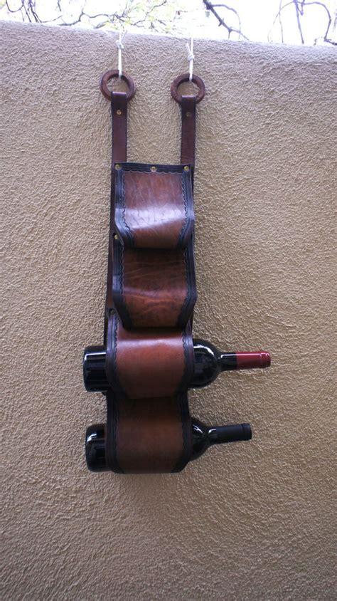 vintage handmade leather wine rack wall hanging wine