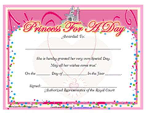 free printable princess for a day award certificates