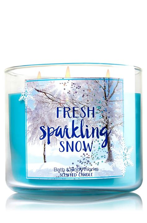 fresh sparkling snow 3 wick candle home fragrance 1037181 bath works hostess gifts
