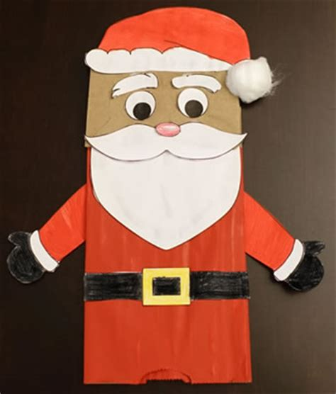 santa claus paper craft paper bag santa puppet