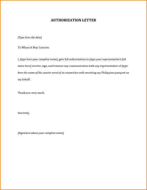 authorization letter template microsoft authorization letter to up passport authorization