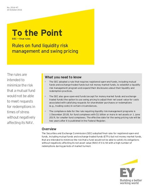 swing pricing mutual funds ey to the point sec rules on fund liquidity risk