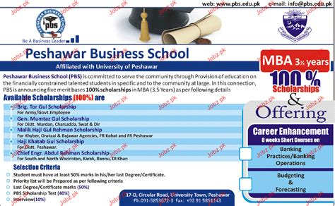 Peshawar Mba Admission 2017 by Admission In Mba In Peshawar Business School 2018