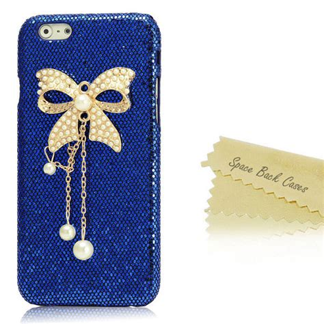 Iphone 6 Plus Luxury Bling Gold Casing Cover Bumper luxury rhinestone bling handmade cell phone cover iphone 6 plus blue gold