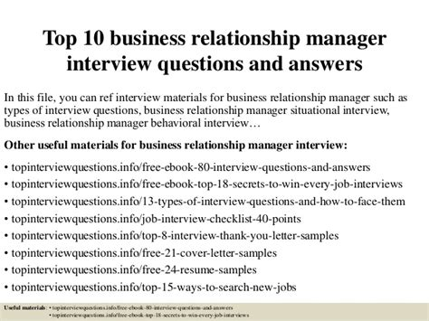 7 Relationship Questions Answered by Top 10 Business Relationship Manager Questions