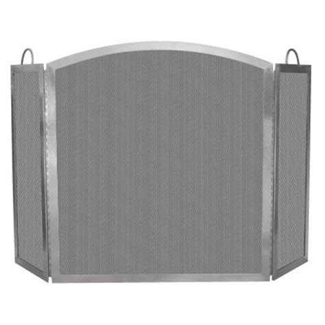 uniflame stainless steel 3 panel fireplace screen with