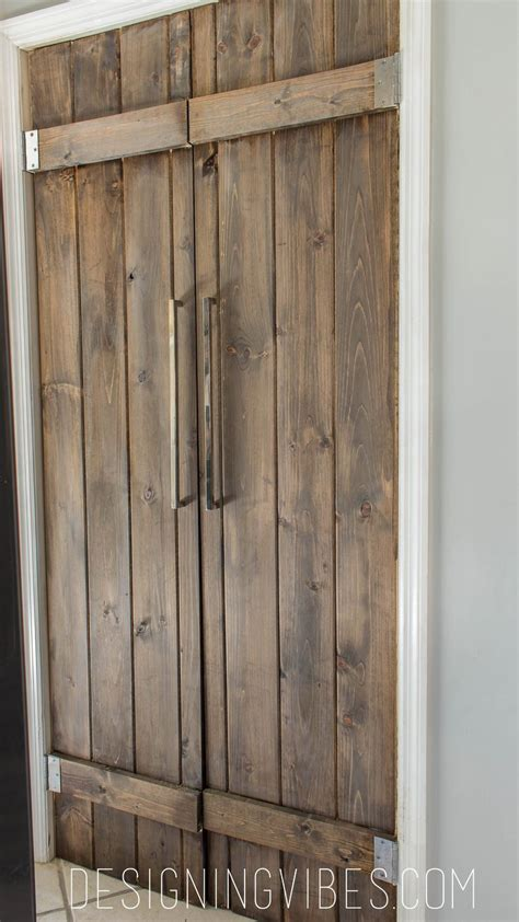 Built In Kitchen Desk double pantry barn door diy under 90 bifold pantry door