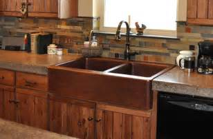 Rustic farm front copper kitchen sink mountain copper creations
