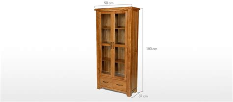 Quercus Display Cabinet Barham Oak Glazed Display Cabinet Quercus Living